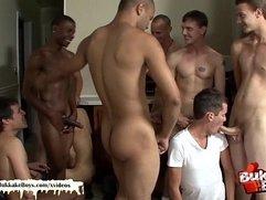 Twink's bukkake turns into an orgy