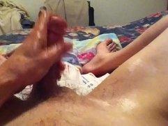 masturbating with oil and toy cum