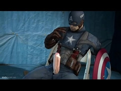 Captain america stroke his big white cock