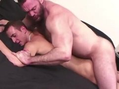Hairy bear pummels young studs ass