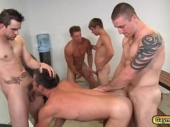 Gay group sex goes hard pounding asshole