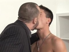 Hunks vs Twink...Dad sucks licks fucks horny son's best friend