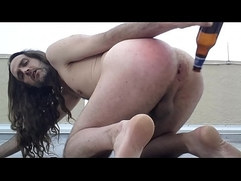 gringo gregory fucks beer bottle anal sex whore on hotel roof top public ass fucked american