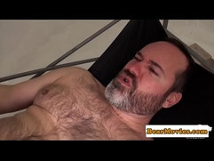 Chubby bear swinging while assfucked