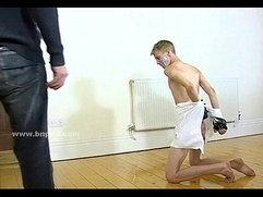 Amused man in bdsm gay sex