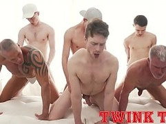 TWINKTOP - Hung twink tops fuck hot daddy ass in bareback group sex