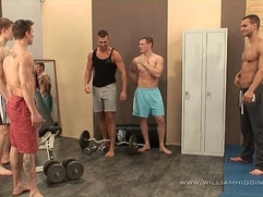 muscle guys fuck fest in gym